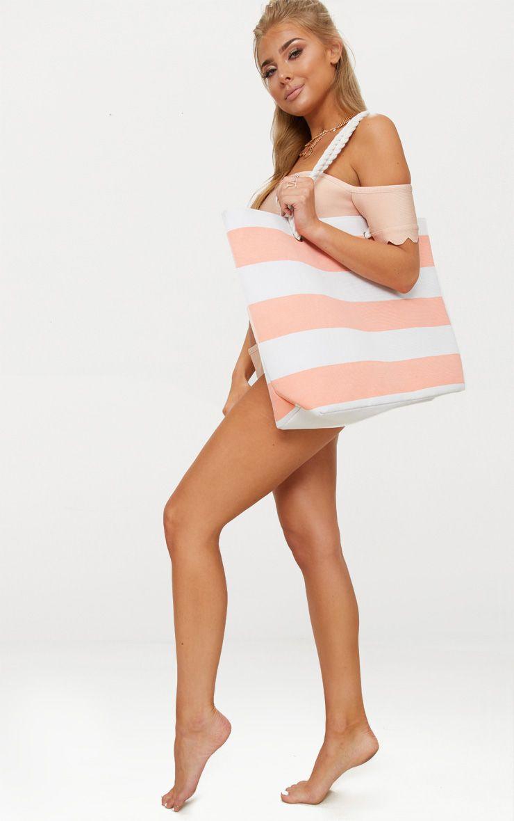 Pink Stripe Rope Handle Beach Bag