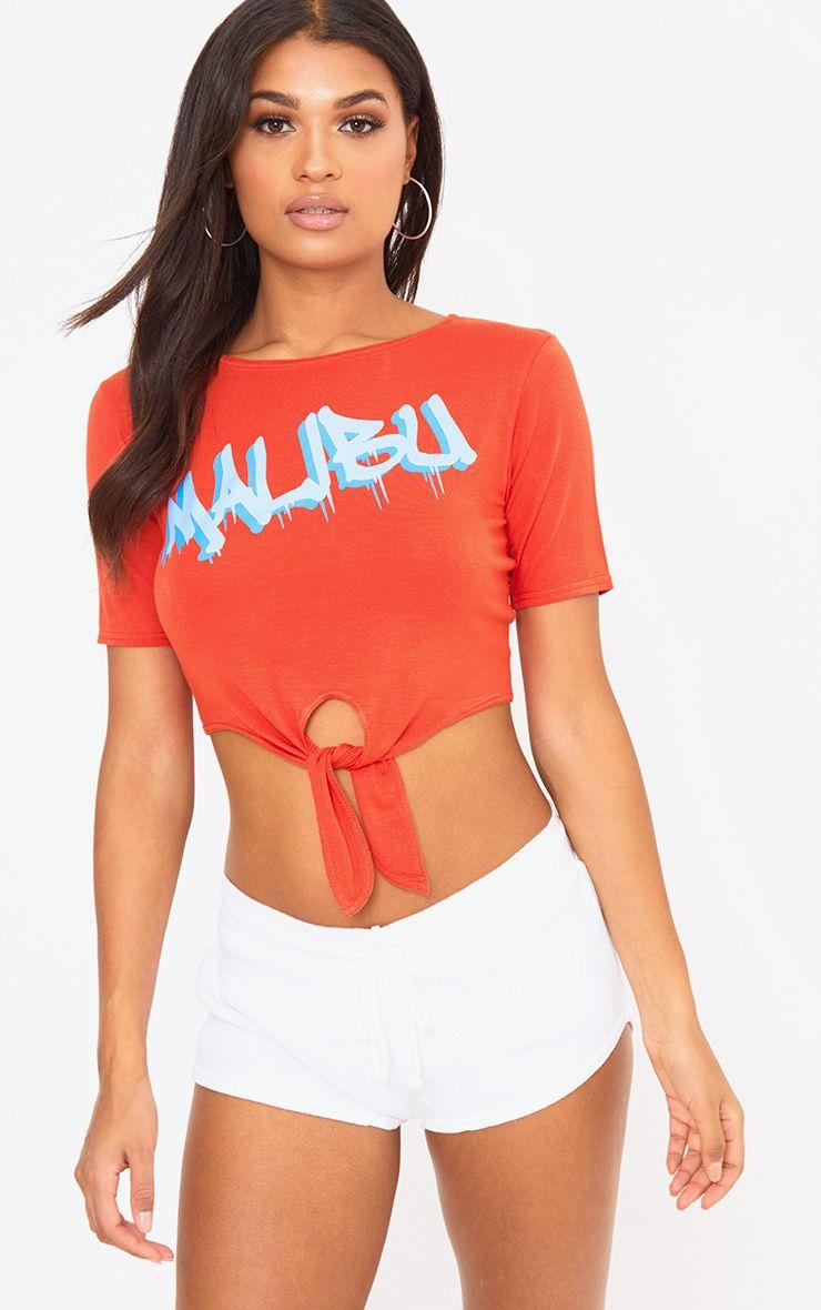 Orange Malibu Slogan Tie Waist Crop T Shirt