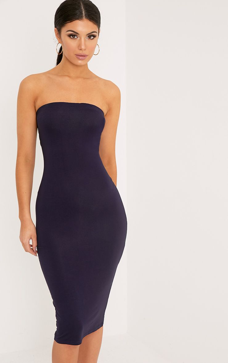 Basic Navy Jersey Bandeau Midi Dress