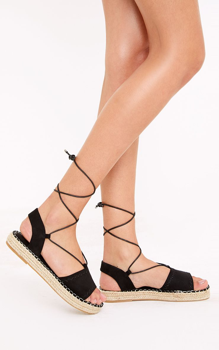 Rosina Black Lace Up Espadrille Sandals