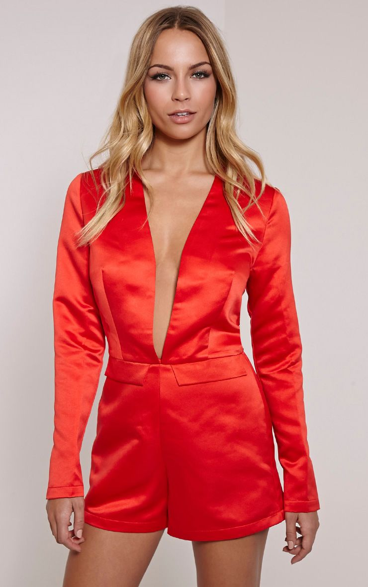 Lysa Red Satin Lace Back Playsuit