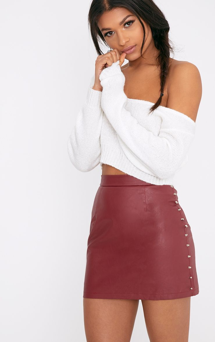 Orabella Dark Red Studded PU Mini Skirt