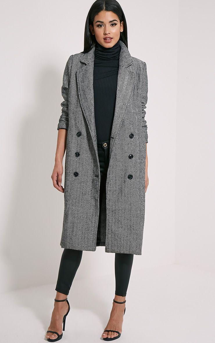 Dea Black Chevron Double Breasted Wool Coat 1