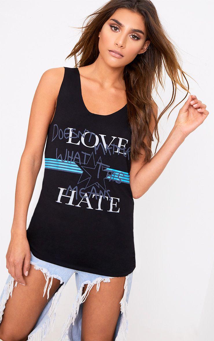 Black Love Hate Slogan Raw Edge Vest