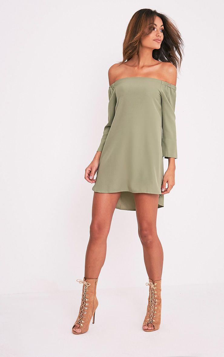 Kandle robe trapèze bardot vert sauge à ourlet arrondi 6