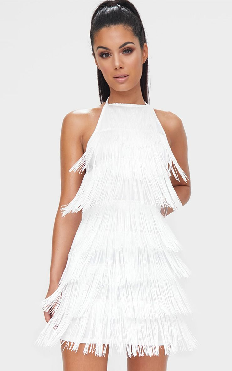 White Tassel Detail Halterneck Bodycon Dress