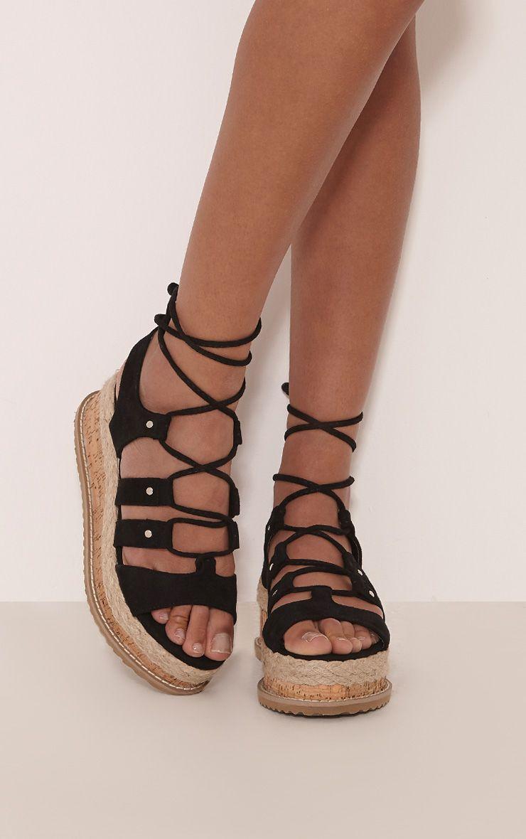 Adelina Black Lace Up Flatform Sandals
