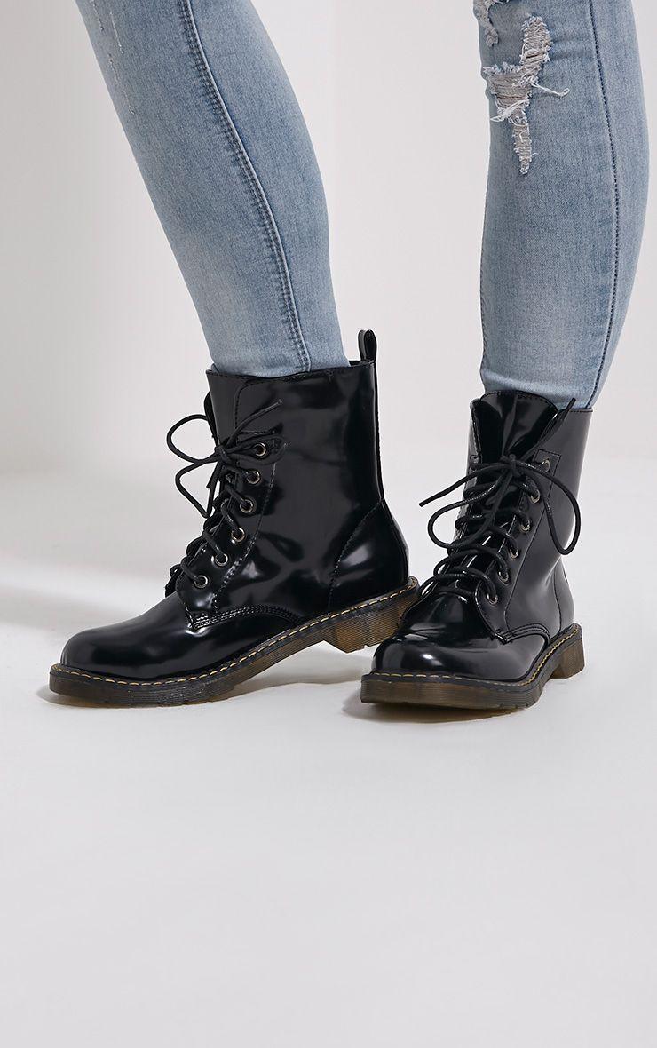 Eleni Black Rubber Sole Lace Up Boots 1