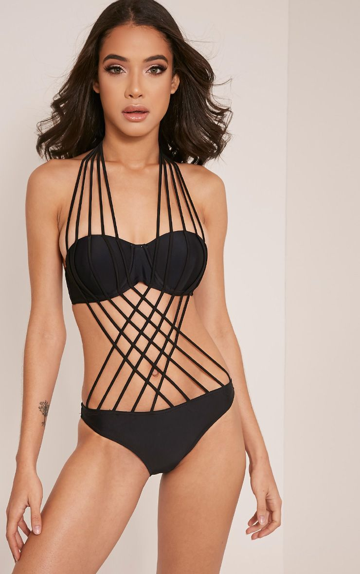 Easton Black Multi Strap Detail Swimsuit