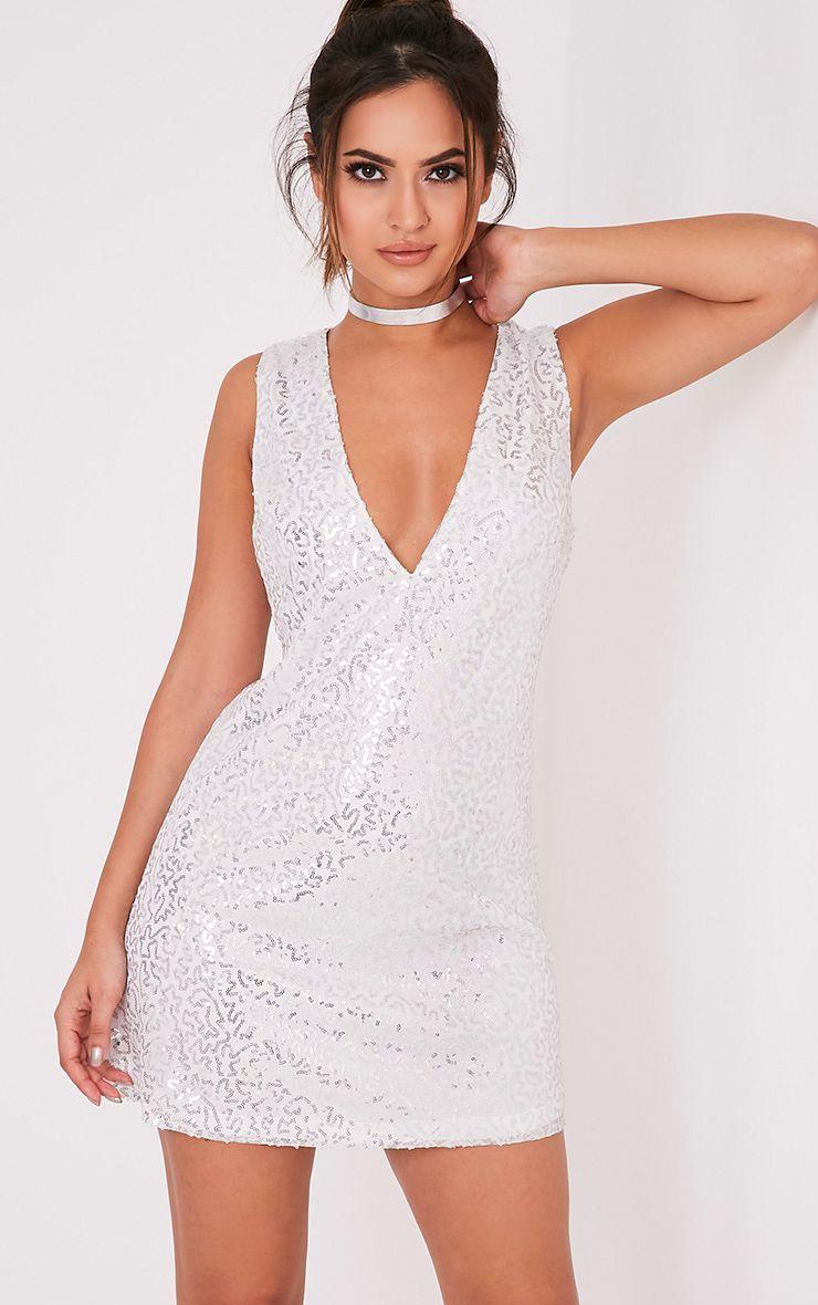 Piah Silver Plunge V Neck Sequin Shift Dress