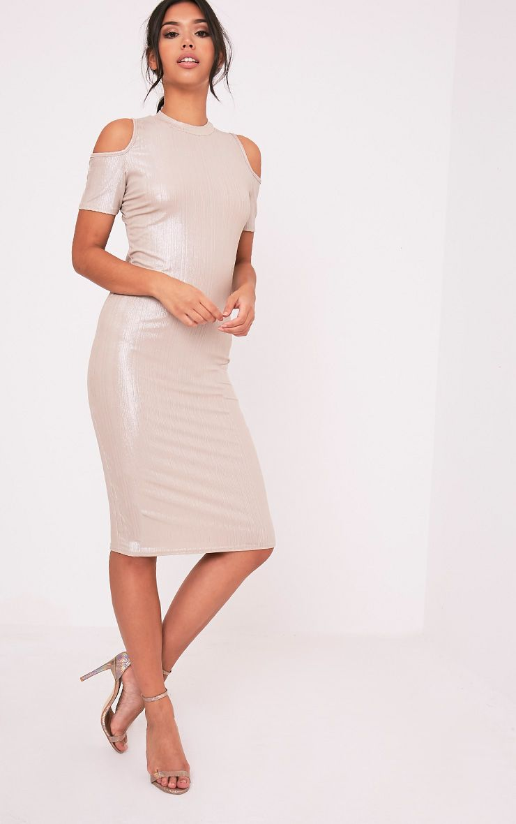 Avaery Champagne Metallic Cold Shoulder Midi Dress