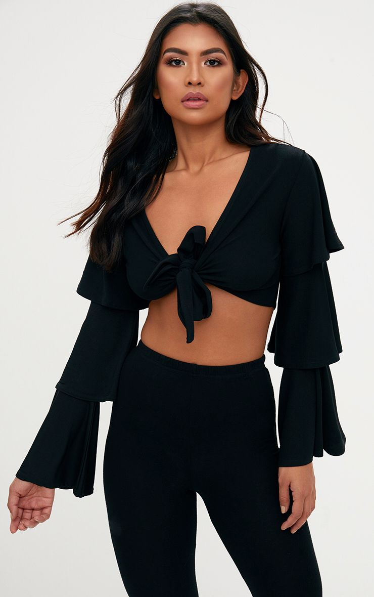 Black Tie Front Ruffle Sleeve Top