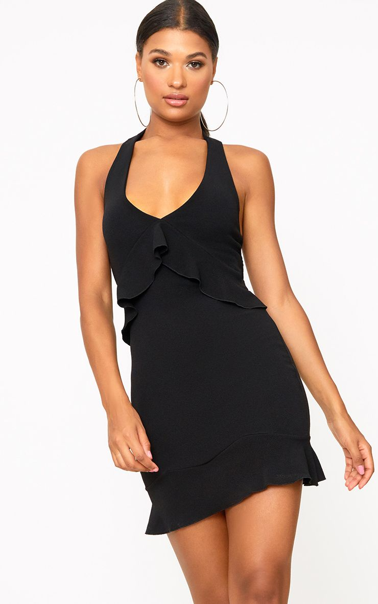 Black Halterneck Frill Detail Bodycon Dress