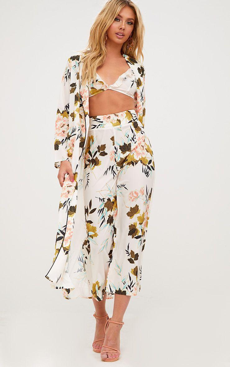 Kimono maxi à fleurs crème