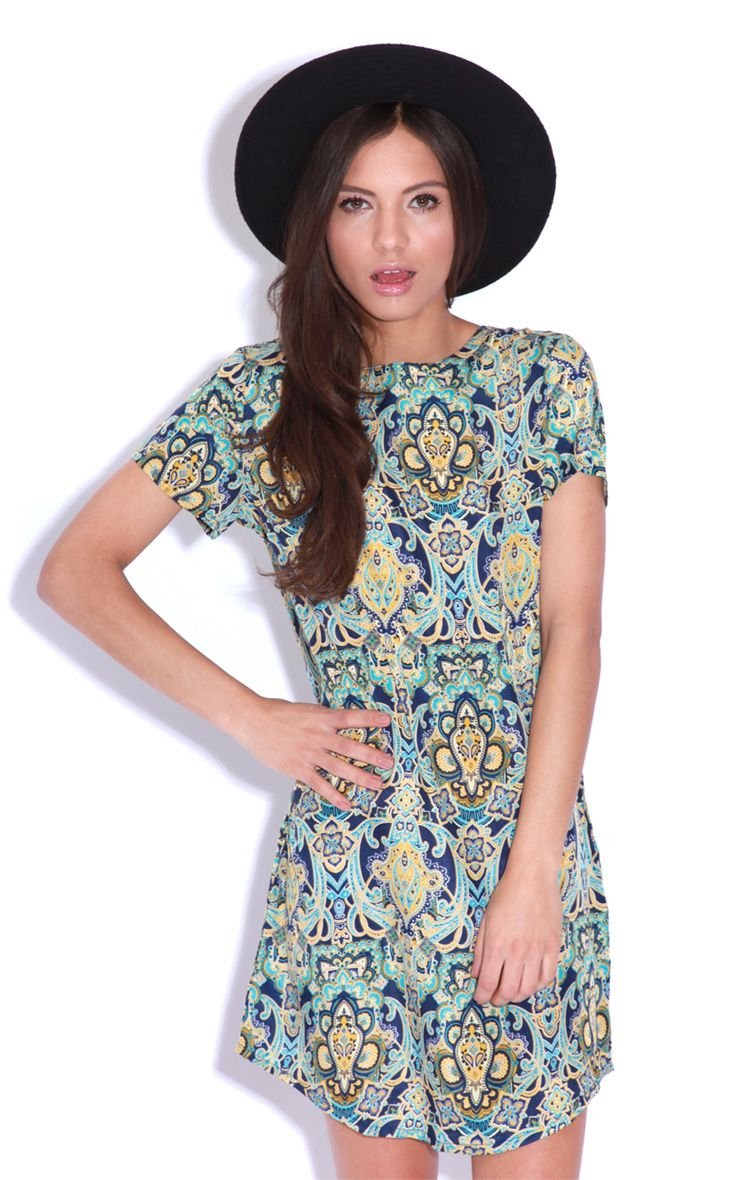 Drew Blue Flock Print Shift Dress 1