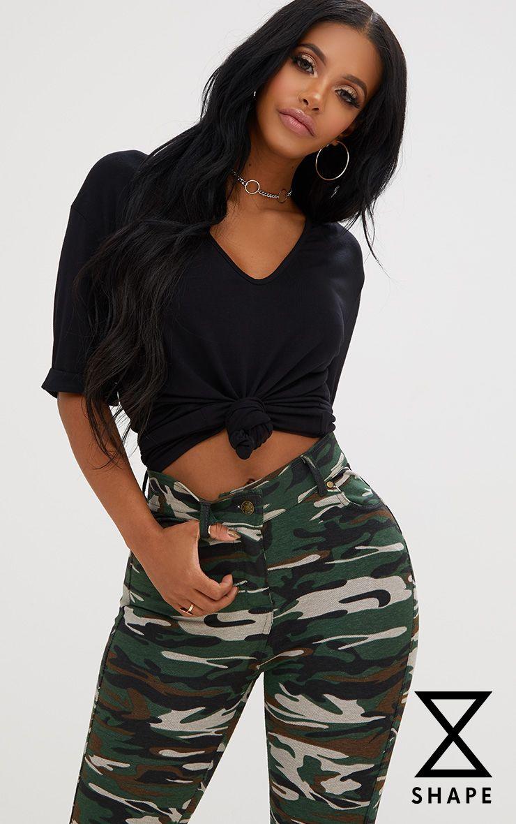Shape Black V Neck Tshirt