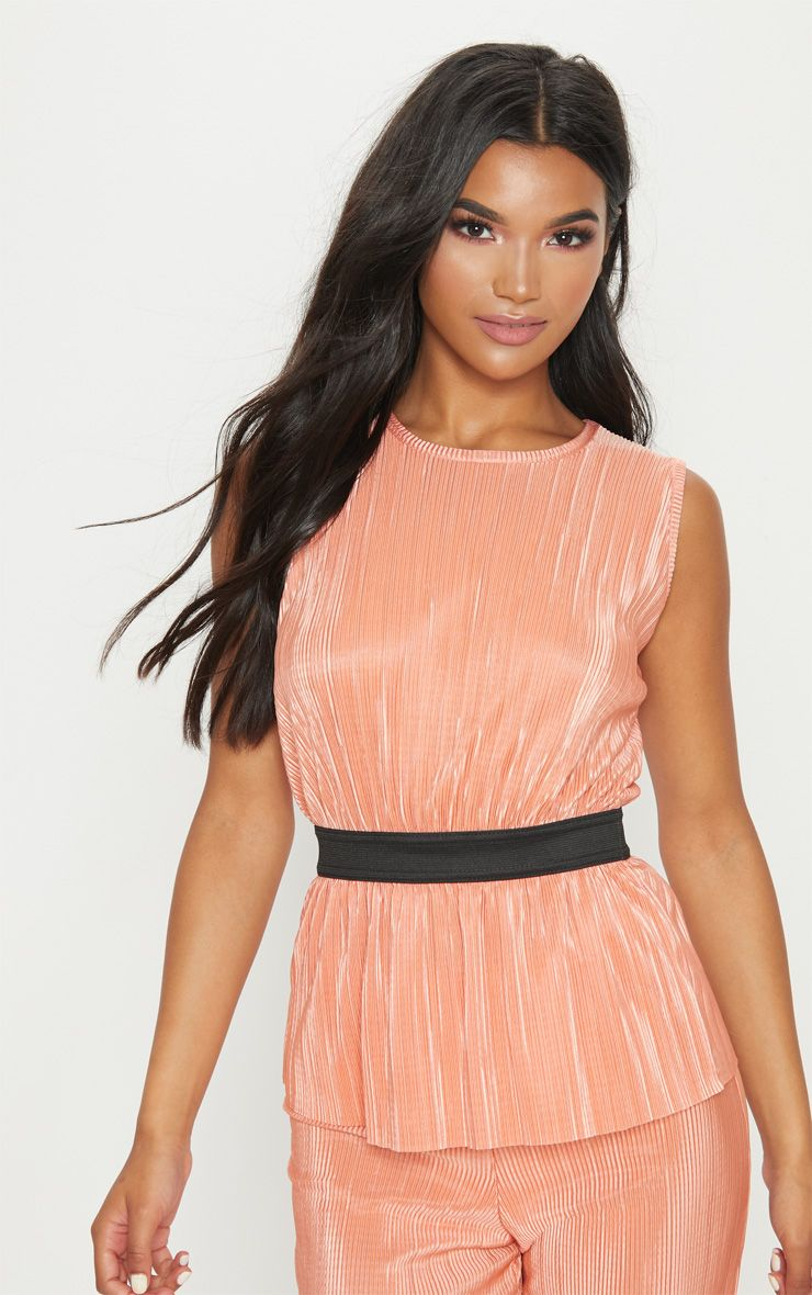 Orange Plisse Waist Detail Top 1