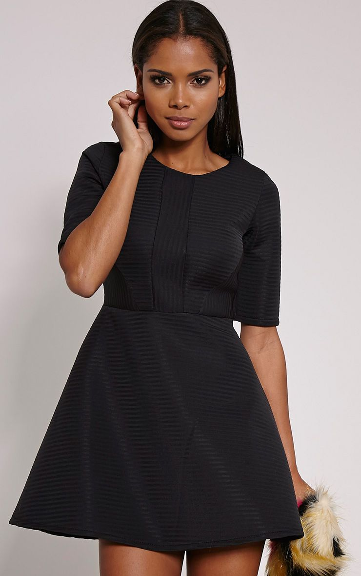 Bella Black Structured Skater Dress 1