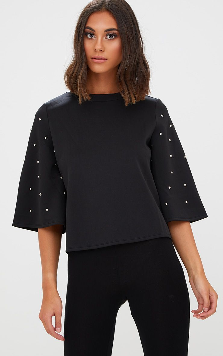 Black Studded Flare Sleeve High Neck Top