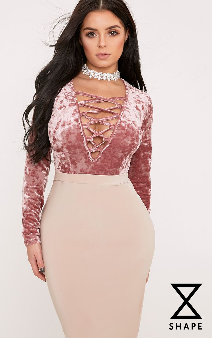 Shape Colette Rose Velvet Lace Up Bodysuit