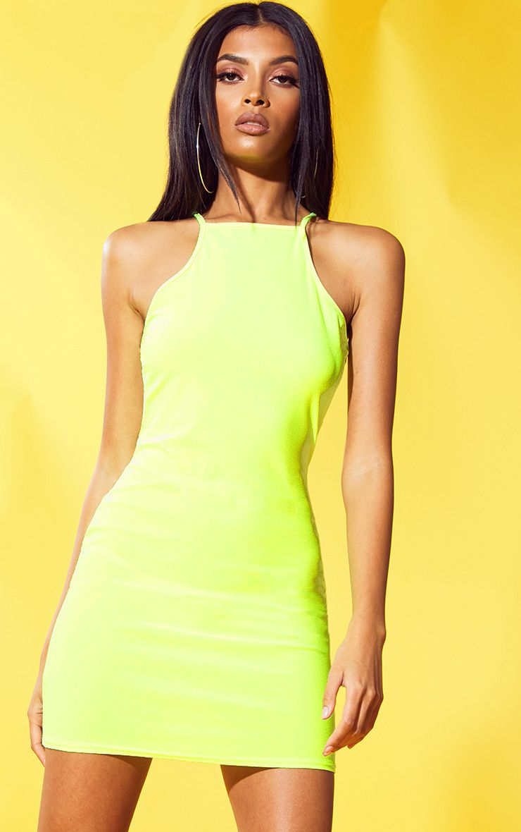 neon-yellow-90s-neck-bodycon-dress by prettylittlething