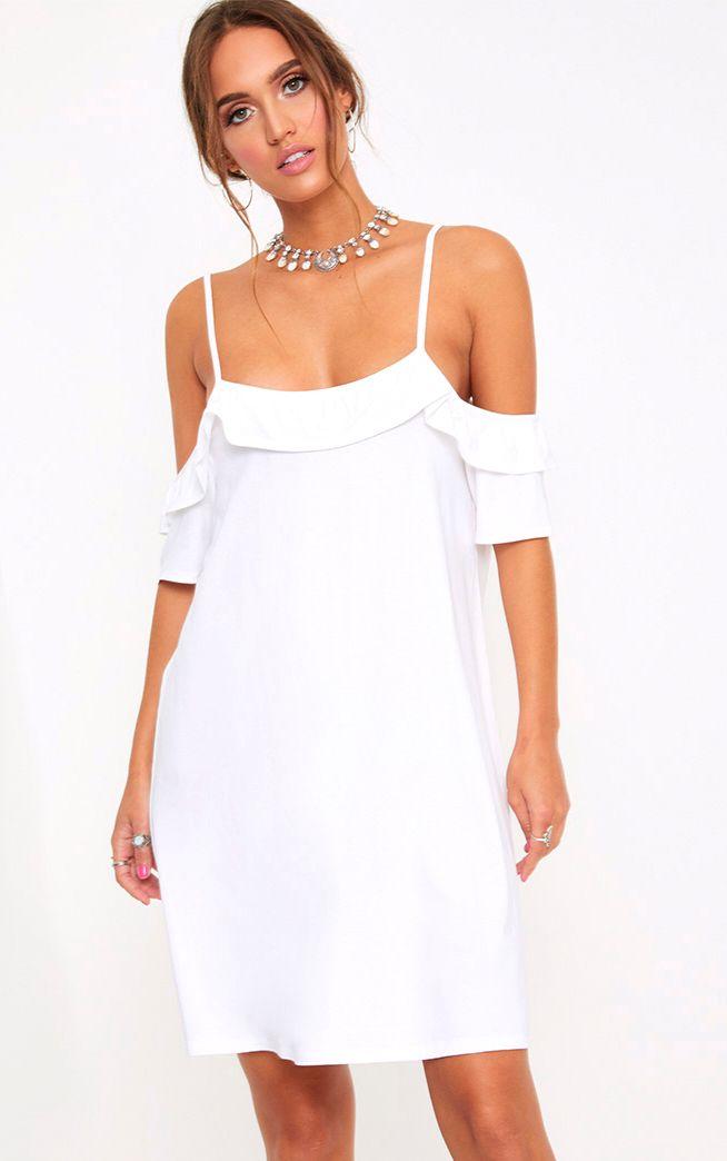 White Cold Shoulder Shift Dress