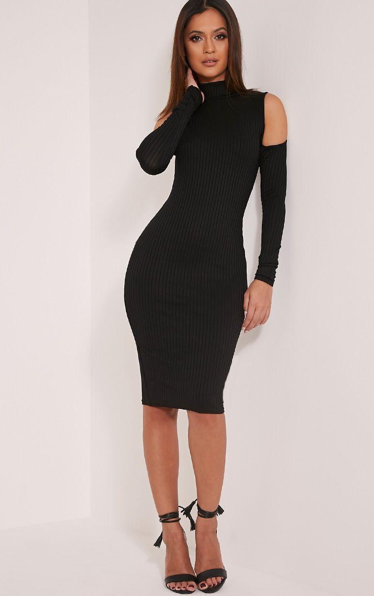 Kellie Black Cold Shoulder Ribbed Bodycon Dress 1