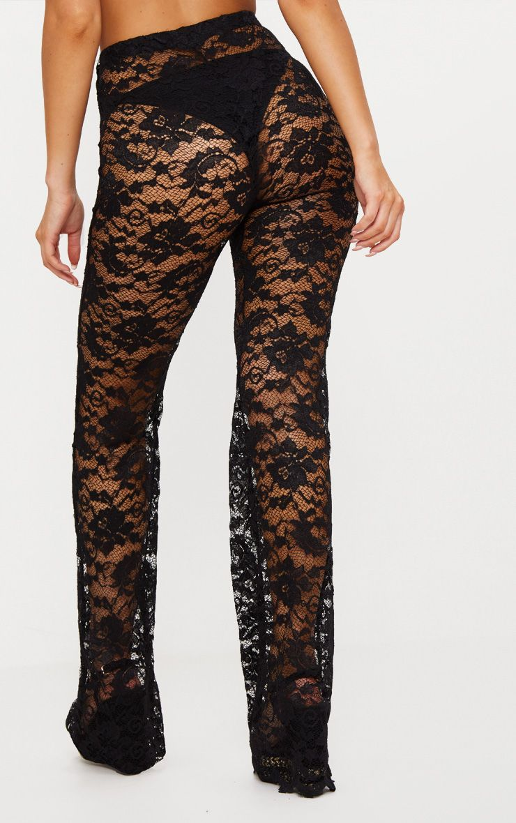 Black Lace Scalloped Hem Beach Trousers Pretty Little Thing