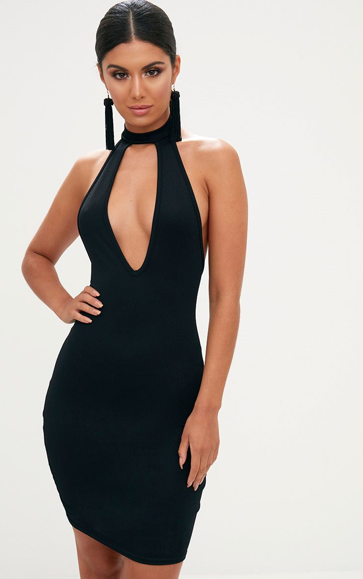 Black High Neck Plunge Front Bodycon Dress