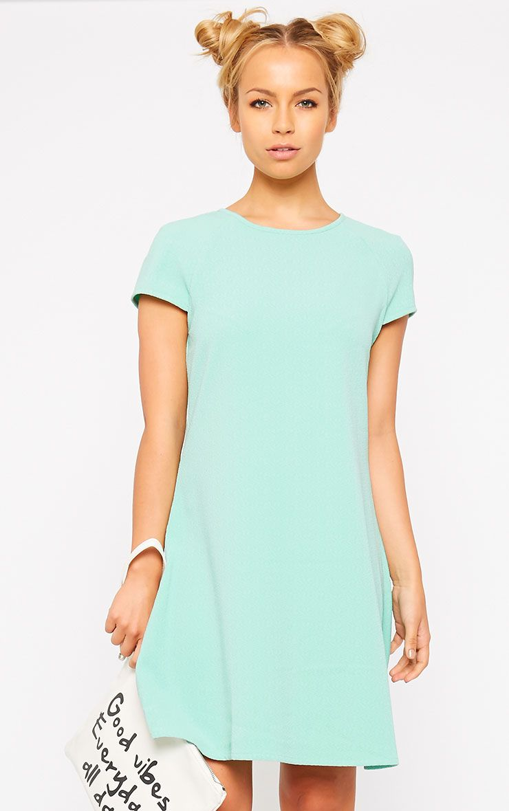 Sabra Mint Waffle Loose Fit Shift Dress 1