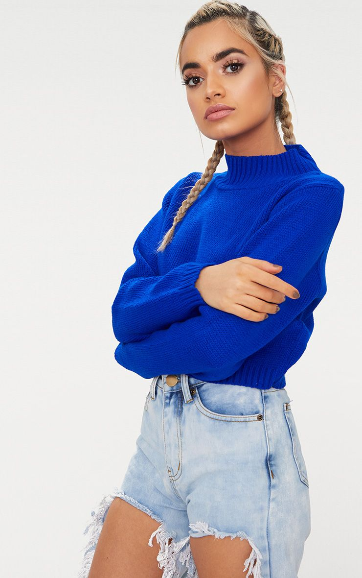 Cobalt High Neck Soft Cropped Jumper