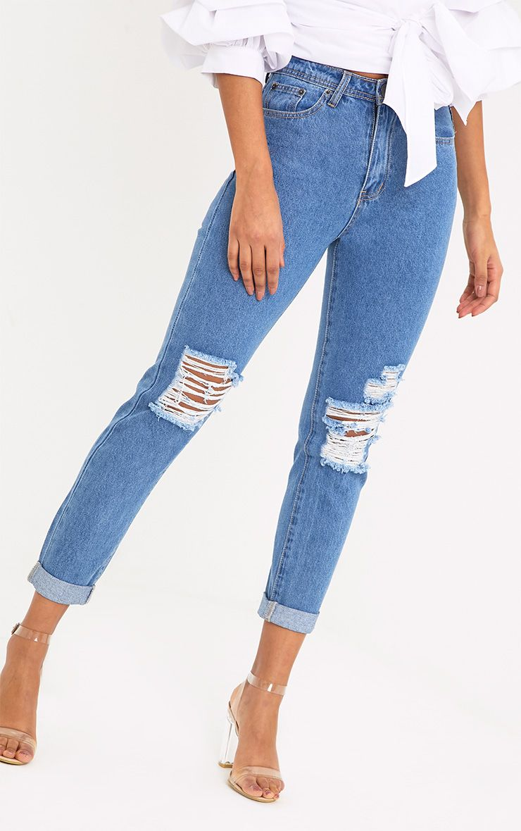 Light Wash Slim BoyFriend Busted Knee Jean