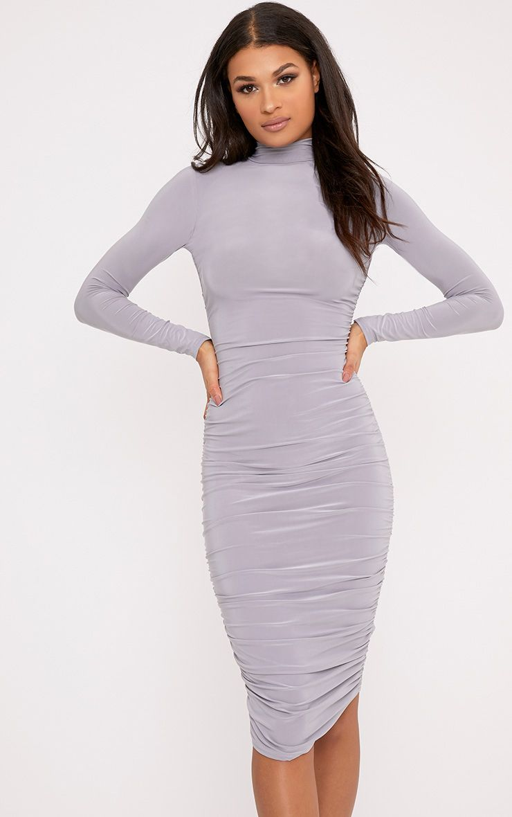 Niyah Ice Grey Slinky Ruched Bodycon Dress