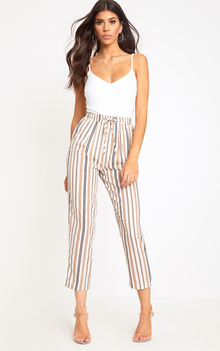 Stone Stripe Casual Trousers