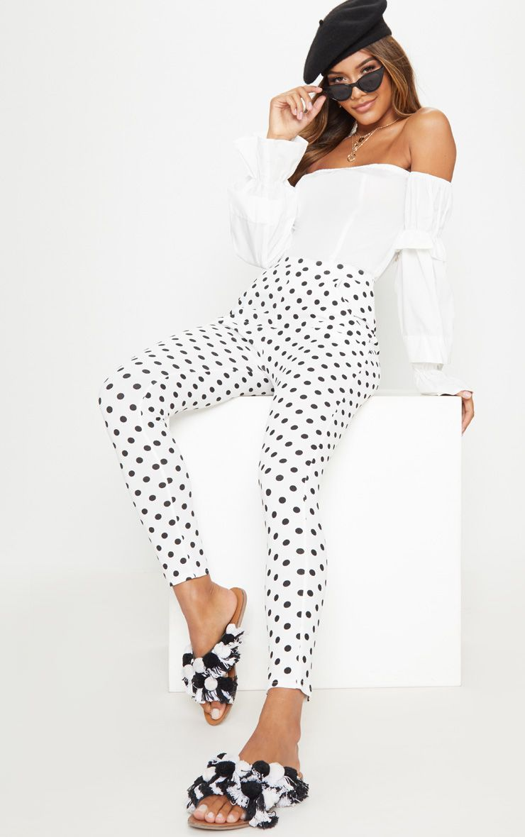 White Polkadot Skinny Trouser