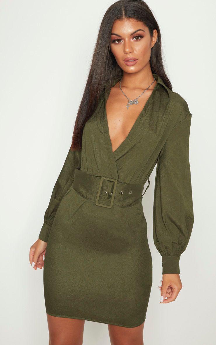 Olive Plunge Belted Shirt Dress
