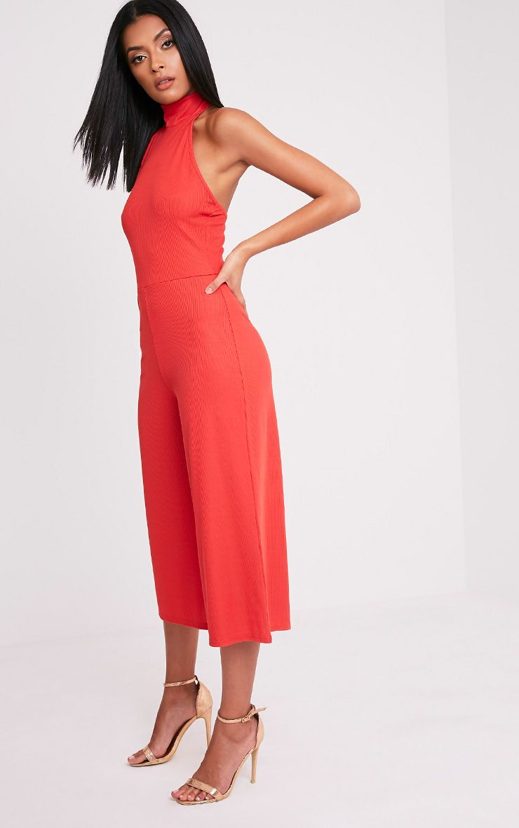 Marcie Red High Neck Low Back Culotte Jumpsuit 1