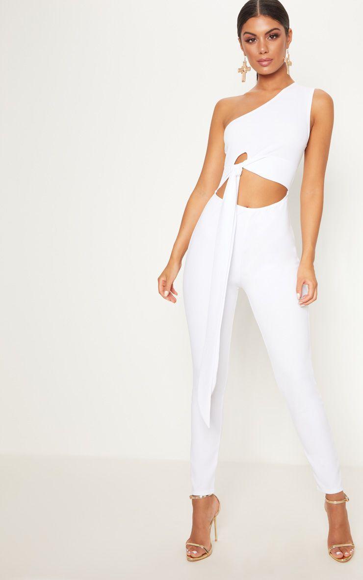 White Crepe One Shoulder Tie Front Jumpsuit