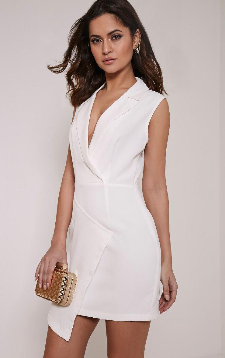 Sarabi White Sleeveless Blazer Style Dress 1