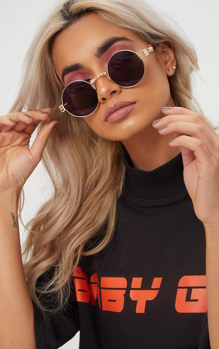 Black Rounded Metal Frame Retro Sunglasses