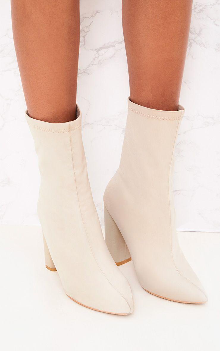 Addie bottes chaussettes pointues en néoprène gris clair