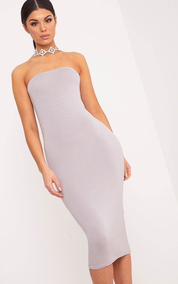 Basic Dove Grey Jersey Bandeau Midi Dress