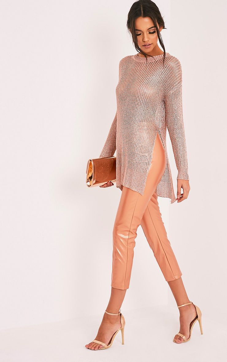 Margarita Metallic Rose Gold Knitted Side Split Oversized Sheer Jumper 1