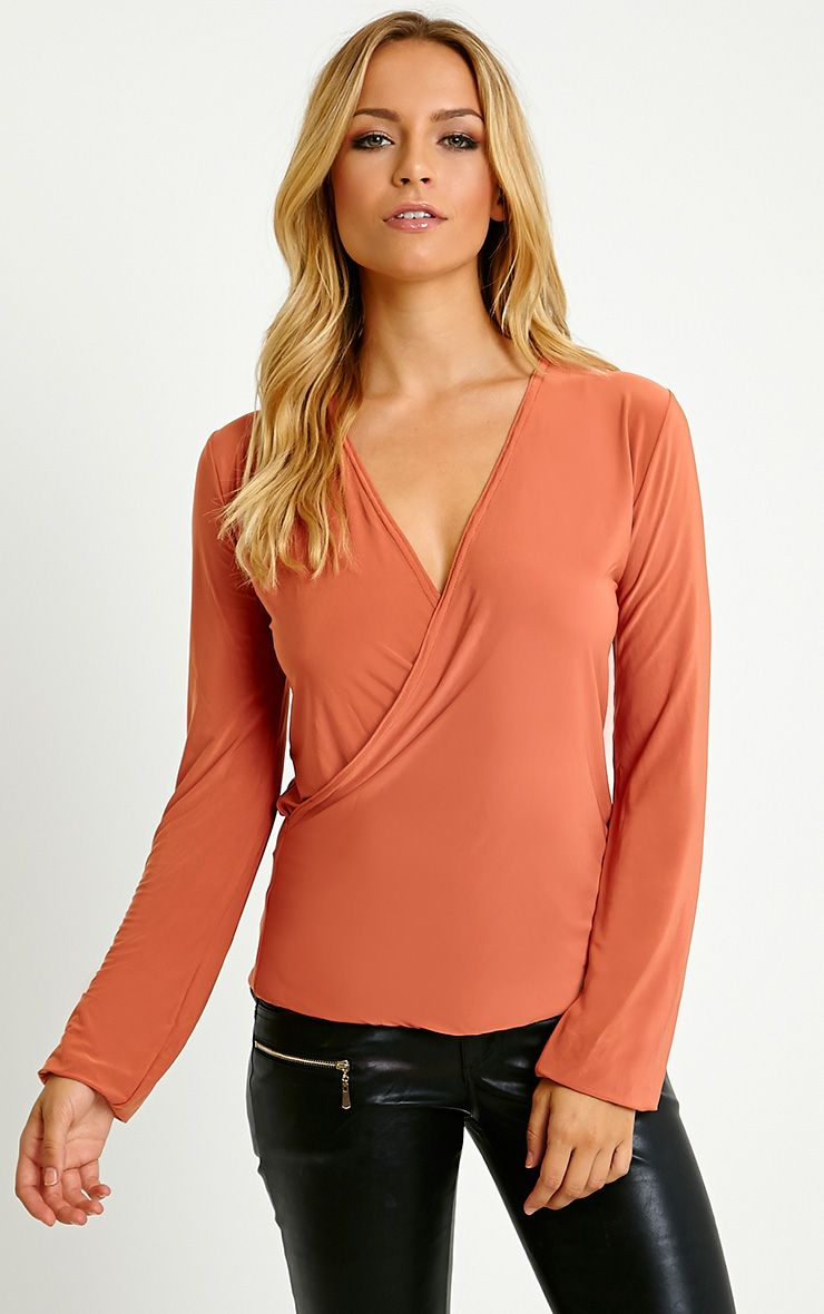 Kimberley Rust Slinky Wrap Top 1
