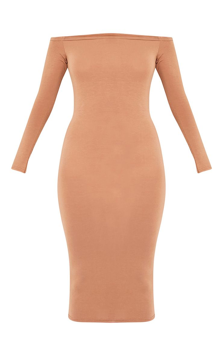 Basic robe midi bardot en jersey camel 3