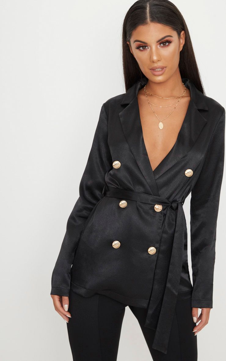 Black Satin Military Blazer