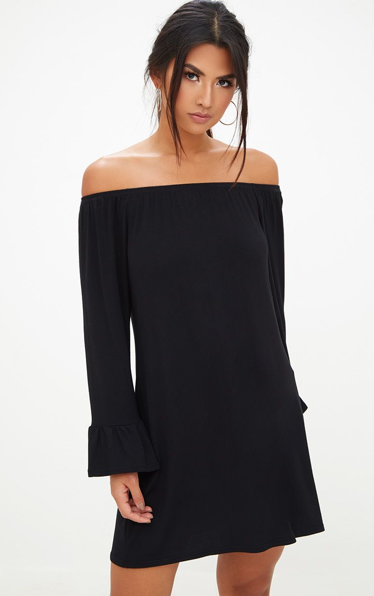 Black Jersey Bardot Long Sleeve Shift Dress