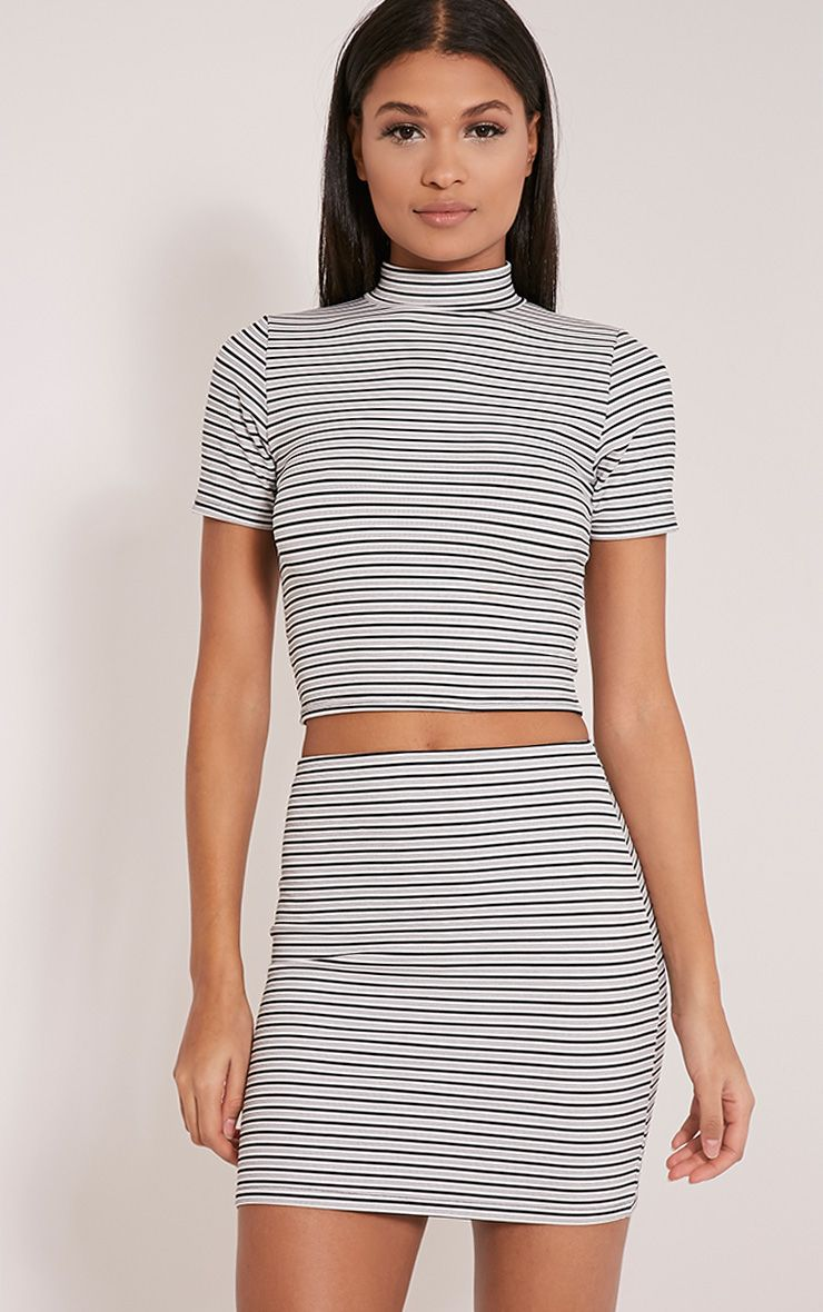 Leoni White Stripe Crop Top 1