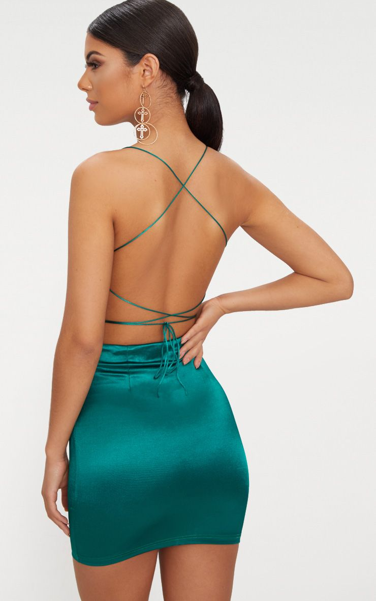 Emerald green High Neck Strappy Back Bodycon Dress