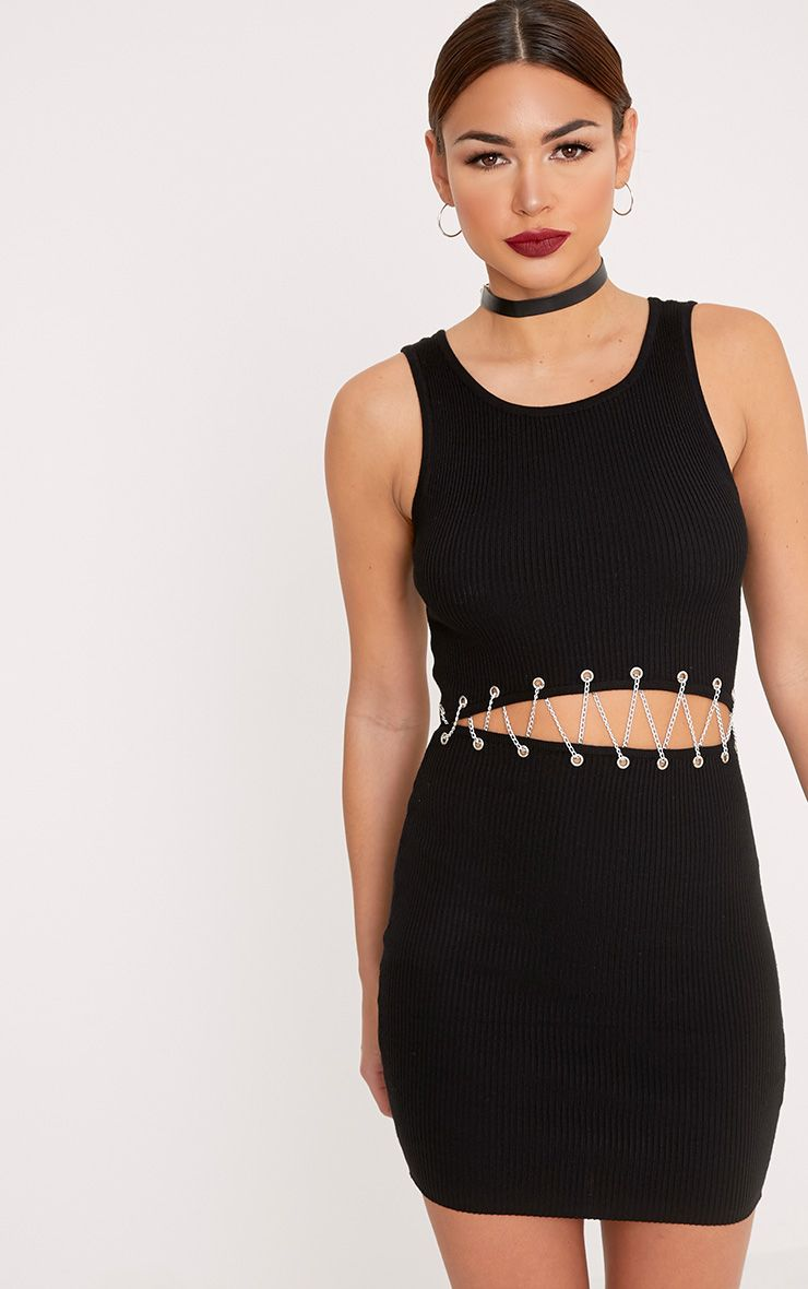 Product photo of Presleigh black chain detail knitted mini dress black